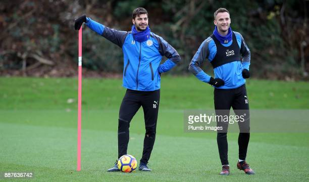 Aleksander Dragovic with Andy King during a Leicester City training session at Belvoir Drive Training Complex on December 7 2017 in Leicester United...