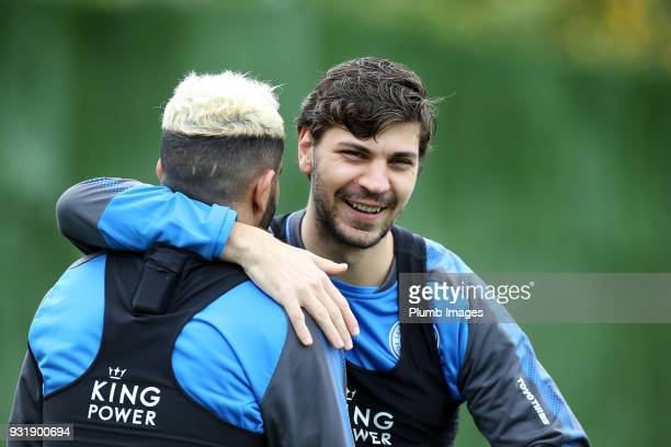 Aleksander Dragovic with Riyad Mahrez during the Leicester City training session at the Marbella Soccer Camp Complex on March 14 2018 in Marbella...