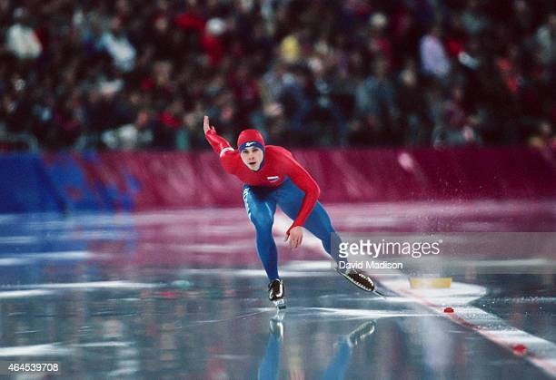 Aleksander Golubev of Russia competes in the Men's 1000 meter event of the Long Track Speed Skating competition of the 1994 Winter Olympics on...