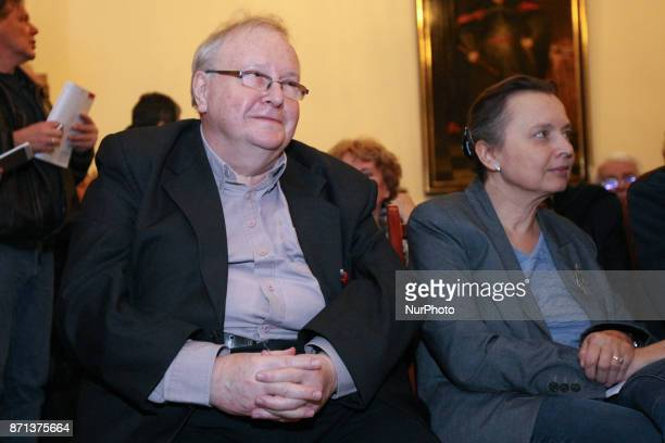 Aleksander Hall and Katarzyna Hall are seen in Gdansk Poland on 7 November 2017 Michnik visits Gdansk to take part in the debate about Polish...