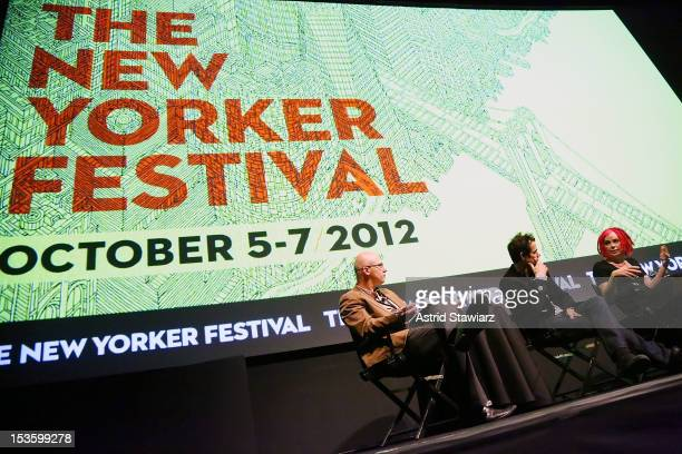 Aleksander Hemon and Directors Tom Tykwer and Lana Wachowski speak at a panel discussion following the Cloud Atlas US premiere at The New Yorker...