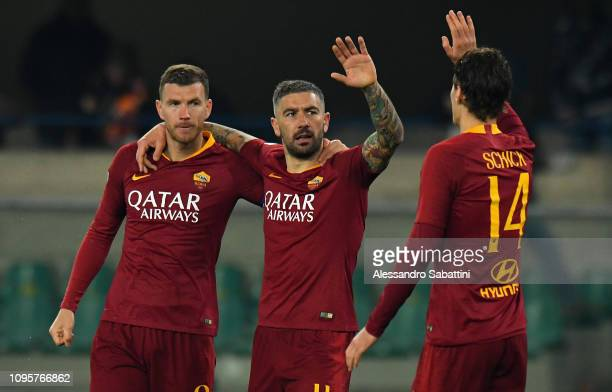 Aleksander Kolarov of AS Roma celebrates after scoring the 03 goal during the Serie A match between Chievo Verona and AS Roma at Stadio Marc'Antonio...