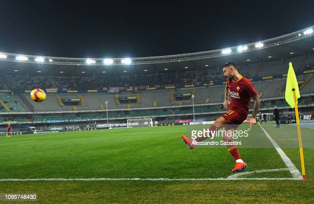 Aleksander Kolarov of AS Roma in action during the Serie A match between Chievo Verona and AS Roma at Stadio Marc'Antonio Bentegodi on February 8...