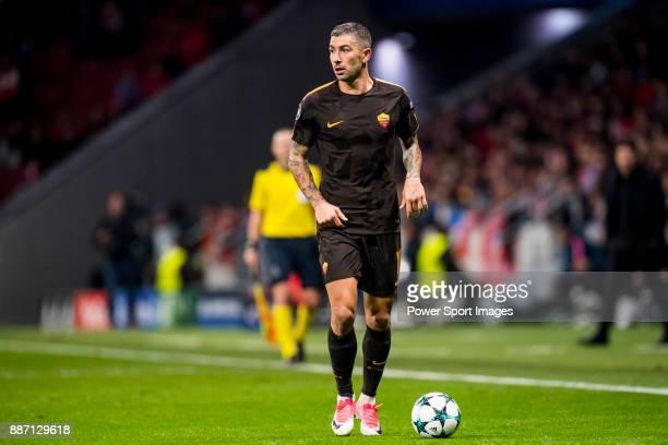 Aleksander Kolarov of AS Roma runs with the ball during the UEFA Champions League 201718 match at Wanda Metropolitano on 22 November 2017 in Madrid...