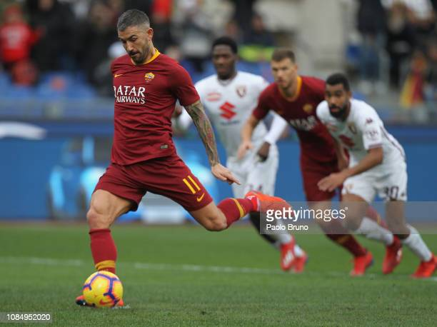 Aleksander Kolarov of AS Roma scores the team's second goal from penalty spot during the Serie A match between AS Roma and Torino FC at Stadio...