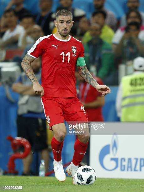 Aleksander Kolarov of Serbia during the 2018 FIFA World Cup Russia group E match between Serbia and Brazil at the Otkrytiye Arena on June 27 2018 in...