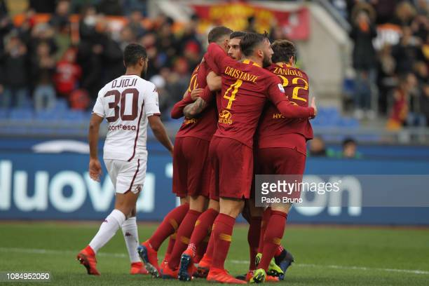 Aleksander Kolarov with his teammates of AS Roma celebrates after scoring the team's second goal from penalty spot during the Serie A match between...