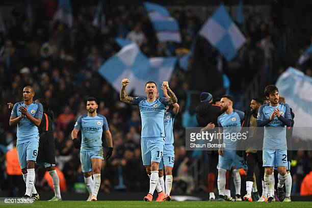 Aleksander Kolorov of Manchester City celebrates his sides win with his Manchester City team mates after the final whistle during the UEFA Champions...
