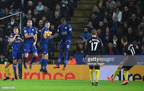 Aleksander Kolorov of Manchester City scores his sides first goal during the Premier League match between Leicester City and Manchester City at the...