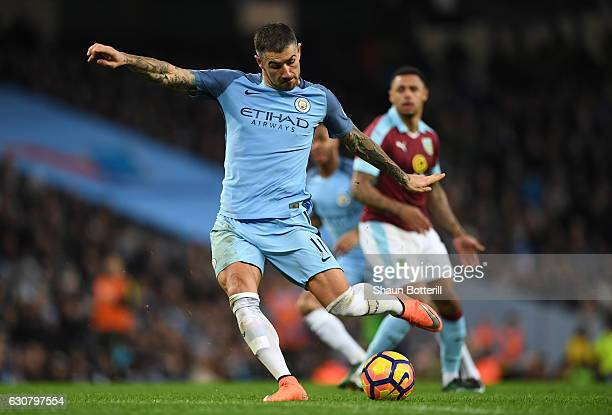 Aleksander Kolorov of Manchester City shoots during the Premier League match between Manchester City and Burnley at Etihad Stadium on January 2 2017...