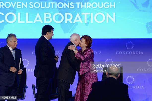 Aleksander Kwasniewski Mikheil Saakashvili John McCain and Vaira VikeFreiberga appear onstage at the 2014 Concordia Summit Day 1 at Grand Hyatt New...