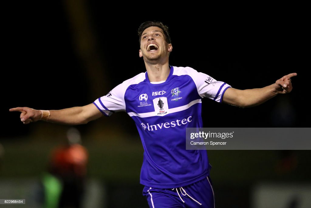 Aleksander Lekoski of Hakoah FC celebrates kicking a goal during the FFA Cup round of 32 match between Hills United FC and Hakoah Sydney City East at Lily's Football Stadium on July 26, 2017 in Sydney, Australia.
