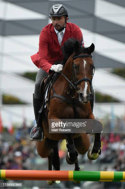Aleksander Lesun of Russia competes during the men's riding show jumping on day three of the UIPM World Cup, Modern Pentathlon test event for the...