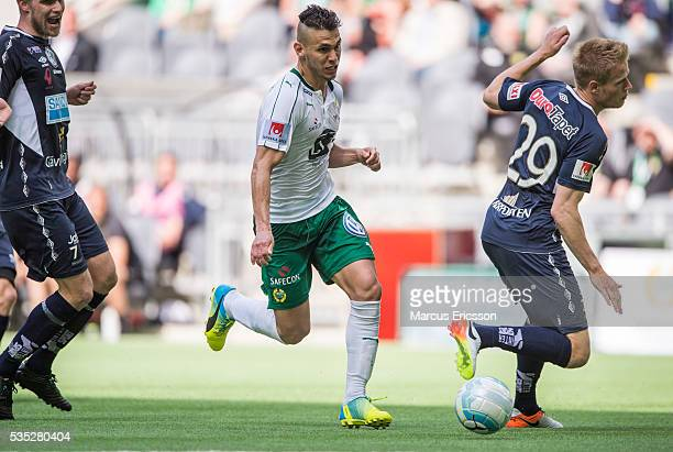 Aleksander Medieros de Aseredo of Hammarby IF during the Allsvenskan match between Hammarby IF and Gefle IF at Tele2 Arena on May 29 2016 in...