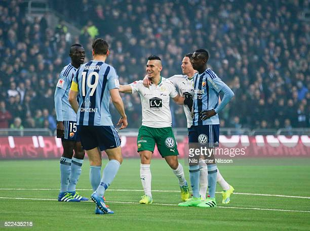 Aleksander Medieros de Aseredo of Hammarby IF scores the opening goal during the allsvenskan match between Djurgardens IF and Hammarby IF at Tele2...