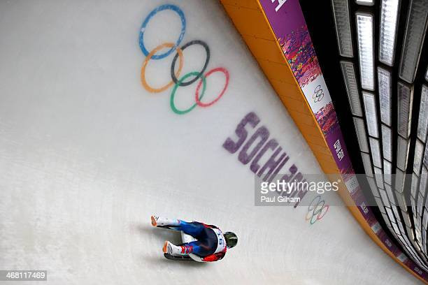 Aleksander Peretyagin of Russia competes during the Men's Luge Singles on Day 2 of the Sochi 2014 Winter Olympics at Sliding Center Sanki on February...