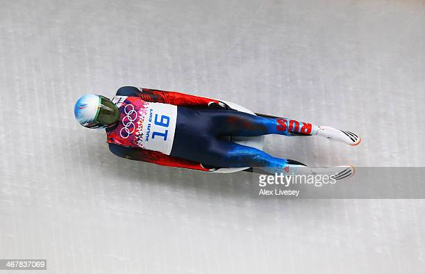 Aleksander Peretyagin of Russia makes a run during the Luge Men's Singles on Day 1 of the Sochi 2014 Winter Olympics at the Sliding Center Sanki on...