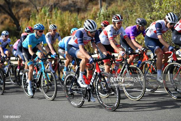 Aleksander Vlasov of Russia and Astana Pro Team / Koen De Kort of The Netherlands and Team Trek - Segafredo / Davide Formolo of Italy and UAE Team...