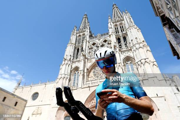Aleksander Vlasov of Russia and Team Astana – Premier Tech looks his mobile while prepares for the race prior to the 76th Tour of Spain 2021, Stage 1...