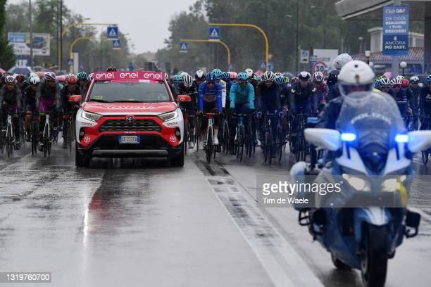 Aleksander Vlasov of Russia and Team Astana – Premier Tech white best young jersey, Geoffrey Bouchard of France and AG2R Citröen Team blue mountain...
