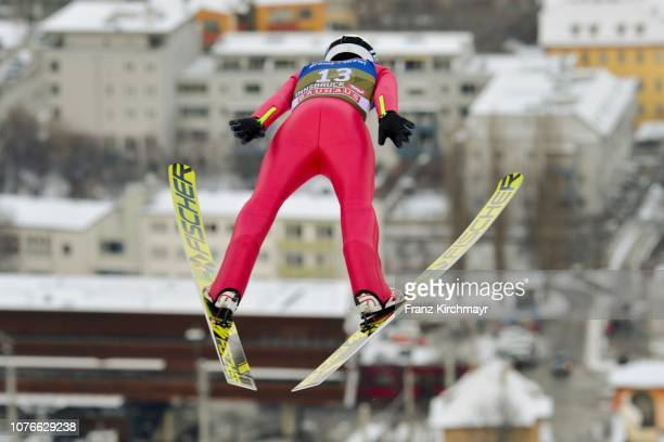 Aleksander Zniszczol of Poland competes during training for the 67th FIS Nordic World Cup Four Hills Tournament ski jumping event at Bergisl Schanze...