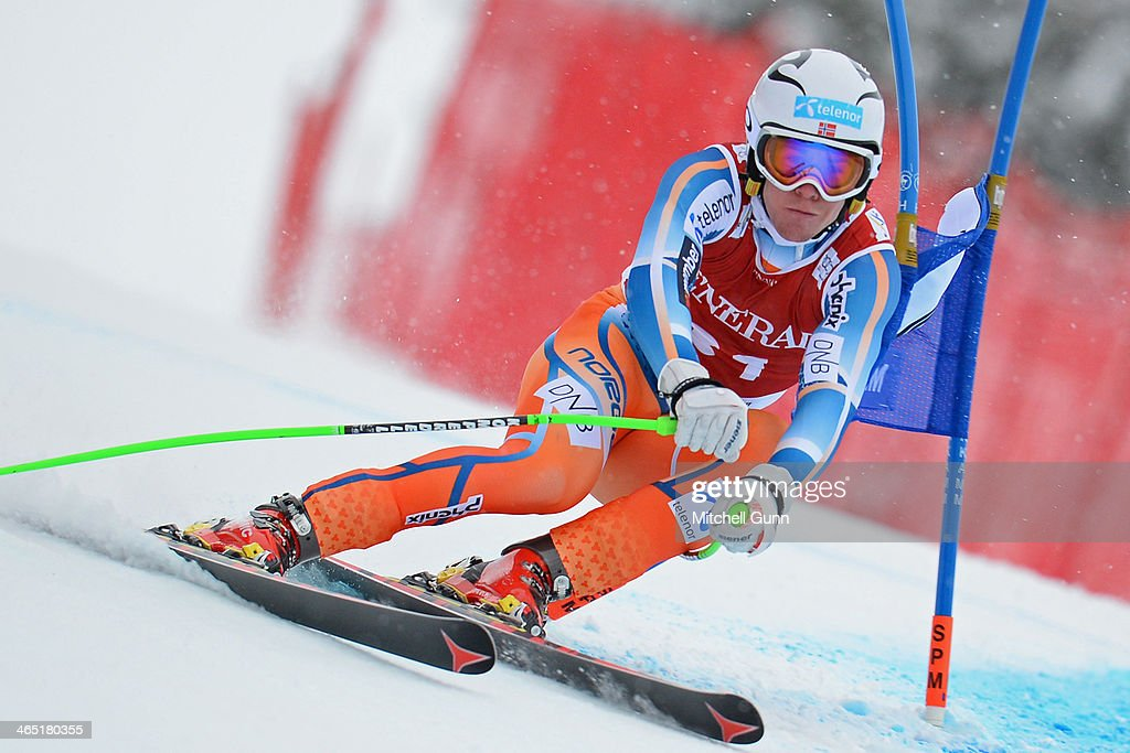 Aleksander-Aamodt Kilde of Norway competes in the Super G stage on the Hahnenkamm Course during the Audi FIS Alpine Ski World Cup Super Combined race on January 26, 2013 in Kitzbuhel, Austria.