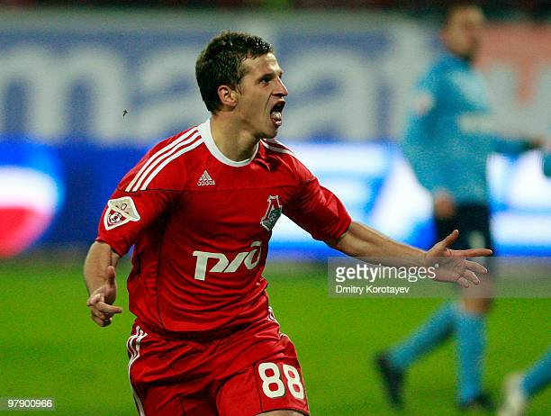 Aleksandr Aliyev of FC Lokomotiv Moscow celebrates after scoring a goal during the Russian Football League Championship match between FC Lokomotiv...
