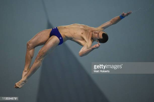 Aleksandr Bondar of Russia competes during the Men's 10m Platform Final on day three of the FINA Diving World Cup Sagamihara at Sagamihara Green Pool...