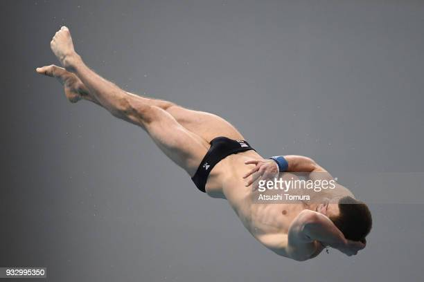 Aleksandr Bondar of Russia competes in the Men's 10m Platform final during day three of the FINA Diving World Series Fuji at Shizuoka Prefectural...