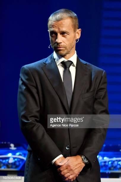 Aleksandr Ceferin president of UEFA during the 2018/2019 UEFA Champions League draw on August 30 2018 in Monaco Monaco