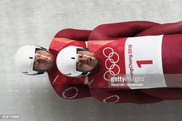 Aleksandr Denisev and Vladislav Antonov of Olympic Athlete from Russia make a run during the Luge Doubles on day five of the PyeongChang 2018 Winter...