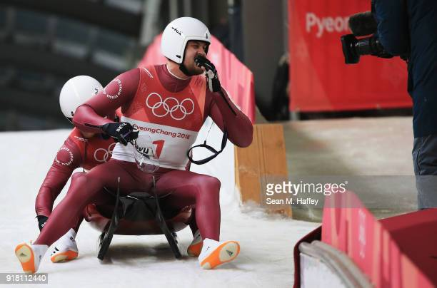Aleksandr Denisev and Vladislav Antonov of Olympic Athlete from Russia slide during the Luge Doubles run 1 on day five of the PyeongChang 2018 Winter...