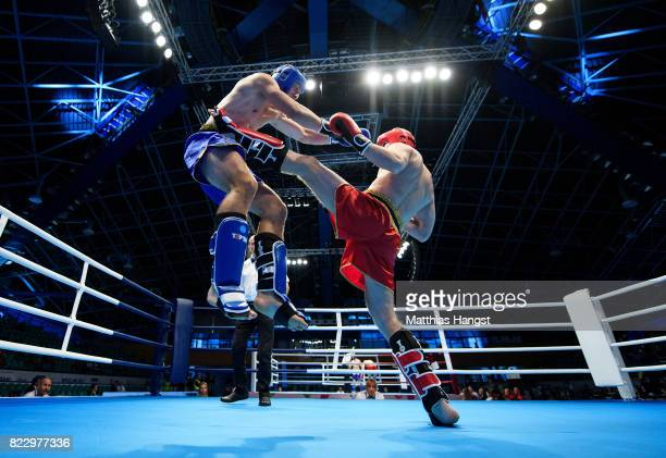 Aleksandr Dimitrenko of Russia fights against Aleksandar Petrov of Bulgaria during the Invitation Sports Kickboxing Men's K1 81kg Quarterfinals of...