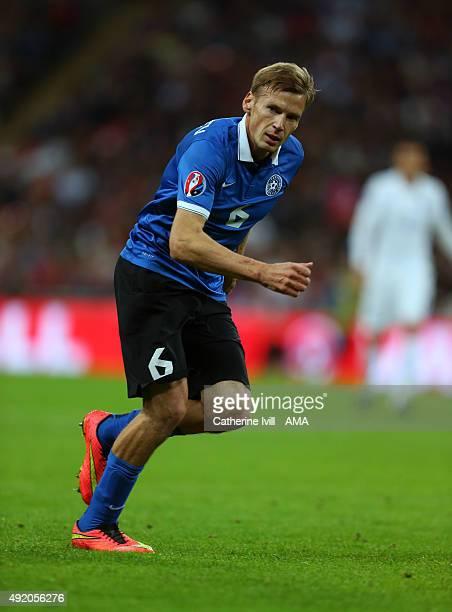 Aleksandr Dmitrijev of Estonia during the UEFA EURO 2016 Qualifier match between England and Estonia at Wembley Stadium on October 9 2015 in London...