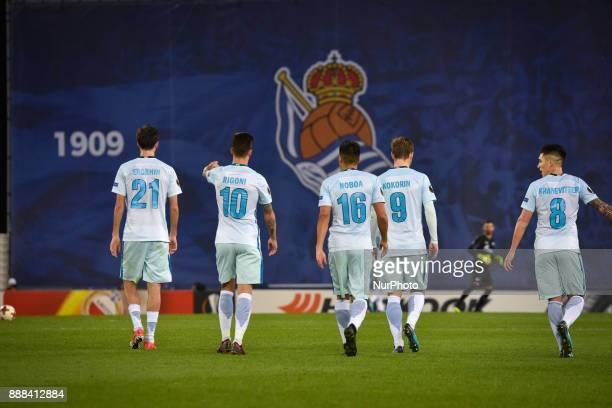 Aleksandr Erokhin Emiliano Rigoni Christian Noboa Aleksandr Kokorin and Matias Kranevitter of Zenit during the UEFA Europa League Group L football...