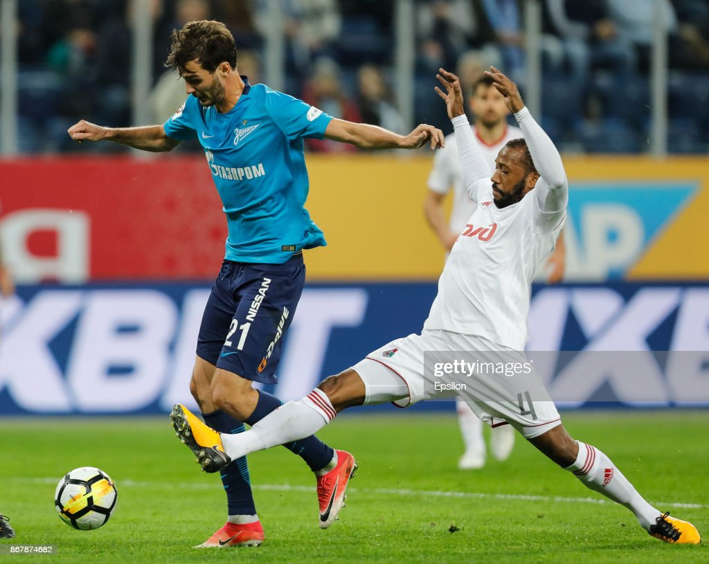 Aleksandr Erokhin (L) of FC Zenit Saint Petersburg and Manuel Fernandes of FC Lokomotiv Moscow vie for the ball during the Russian Football League match between FC Zenit St. Petersburg and FC Lokomotiv Moscow on October 29, 2017 at Saint Petersburg Stadium in Saint Petersburg, Russia.
