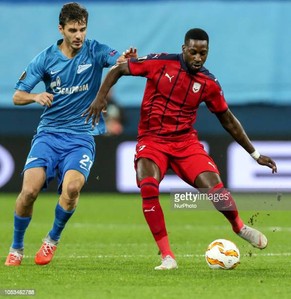 Aleksandr Erokhin of FC Zenit Saint Petersburg and Younousse Sankharé of FC Girondins de Bordeaux vie for the ball during the Group C match of the...