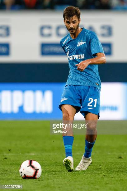 Aleksandr Erokhin of FC Zenit Saint Petersburg in action during the UEFA Europa League playoffs first leg match between FC Zenit Saint Petersburg and...