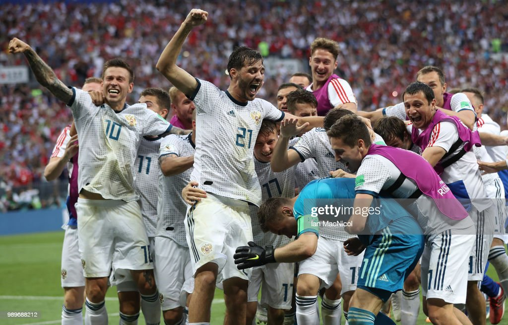 Aleksandr Erokhin of Russia celebrates after his team win a penalty shoot out during the 2018 FIFA World Cup Russia Round of 16 match between Spain and Russia at Luzhniki Stadium on July 1, 2018 in Moscow, Russia.