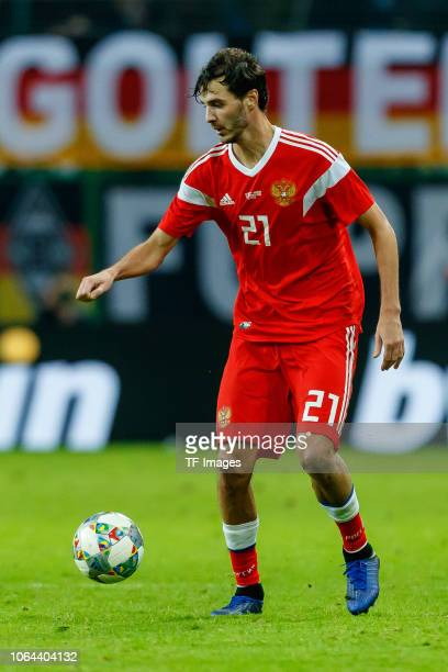 Aleksandr Erokhin of Russia controls the ball during the International Friendly match between Germany and Russia at Red Bull Arena on November 15...