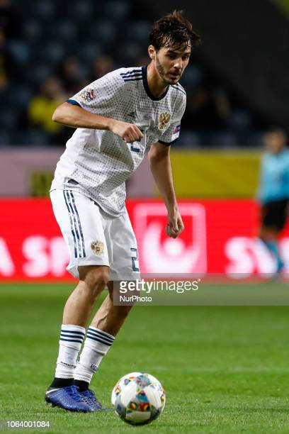 Aleksandr Erokhin of Russia in action during the UEFA Nations League B Group 2 match between Sweden and Russia on November 20 2018 at Friends Arena...