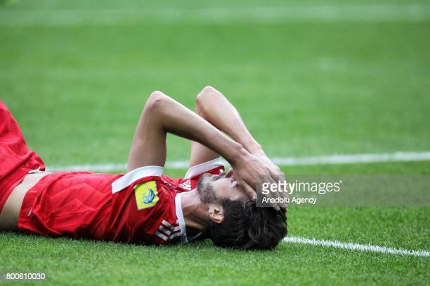 Aleksandr Erokhin of Russia lays on the pitch during the FIFA Confederations Cup 2017 group A soccer match between Mexico and Russia at 'Kazan Arena'...