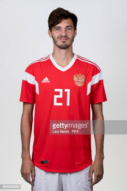 Aleksandr Erokhin of Russia poses for a portrait during the official FIFA World Cup 2018 portrait session at Federal Sports Centre Novogorsk on June...