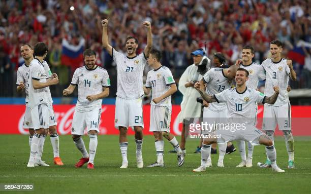 Aleksandr Erokhin of Russia reacts in the penalty shoot out during the 2018 FIFA World Cup Russia Round of 16 match between Spain and Russia at...