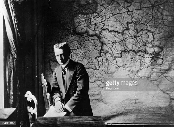 Aleksandr Fyodorovich Kerensky leader of the Russian provisional government at his desk during the Russian Revolution