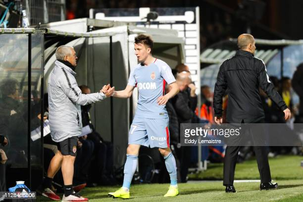 Aleksandr Golovin and Leonardo Jardim head coach of Monaco during the Ligue 1 match between SCO Angers and AS Monaco on March 2 2019 in Angers France