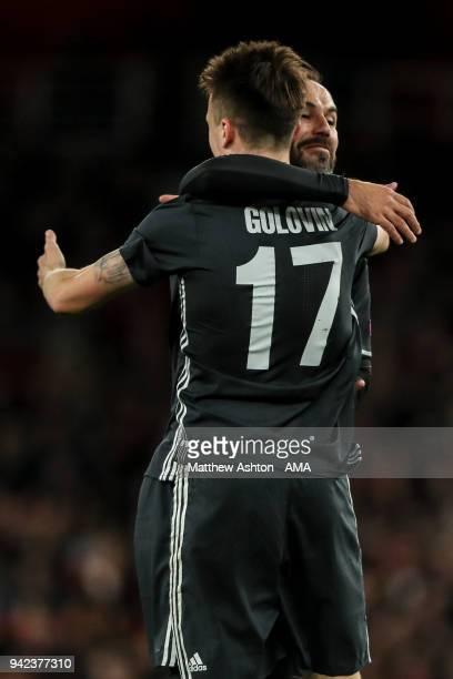 Aleksandr Golovin of CSKA Moscow celebrates after scoring a goal to make it 11 during the UEFA Europa League Quarter Final First Leg match between...