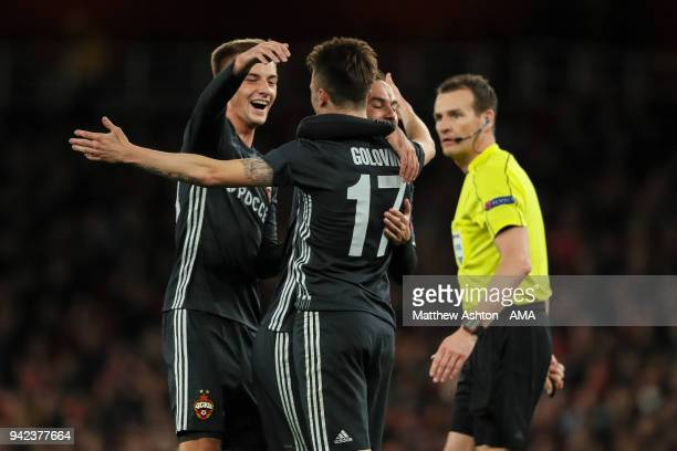 Aleksandr Golovin of CSKA Moscow celebrates after scoring a goal to make it 11 during the UEFA Europa League Quarter Final First Leg match between...