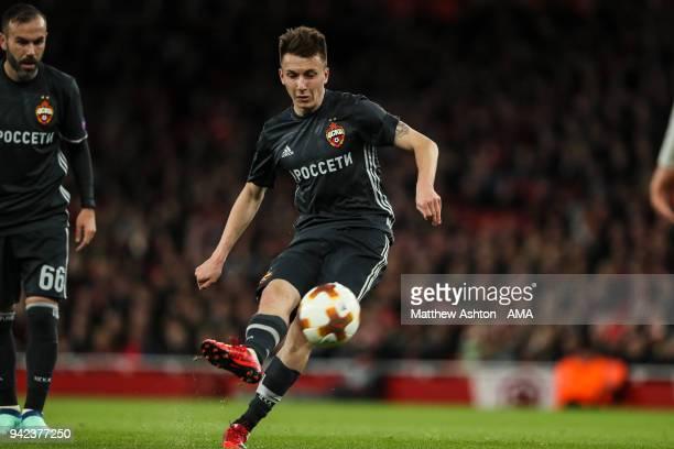 Aleksandr Golovin of CSKA Moscow scores a goal to make it 11 during the UEFA Europa League Quarter Final First Leg match between Arsenal FC and CSKA...