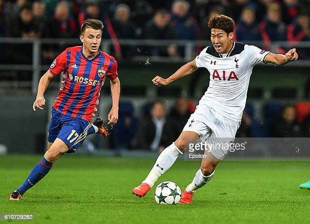 Aleksandr Golovin of CSKA Moscow vies for the ball with HeungMin Son of Tottenham Hotspur FC during the UEFA Champions League match between PFC CSKA...